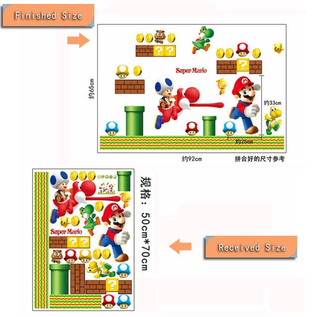 Super Mario Bros Kids Removable Wall Sticker