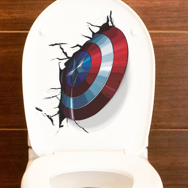 3D Vivid Captain America Shield Through Wall Stickers