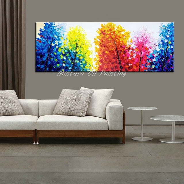 100% Handpainted Color Tree Knife Modern Oil Painting