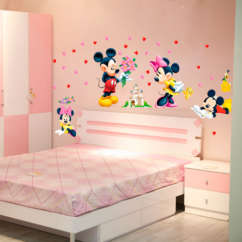 Cartoon Mickey Minnie Mouse baby wall stickers