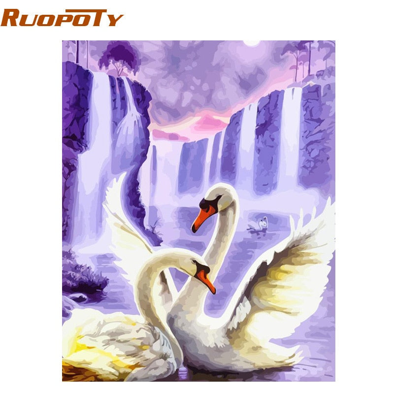 RUOPOTY Frame Swan Animals DIY Painting