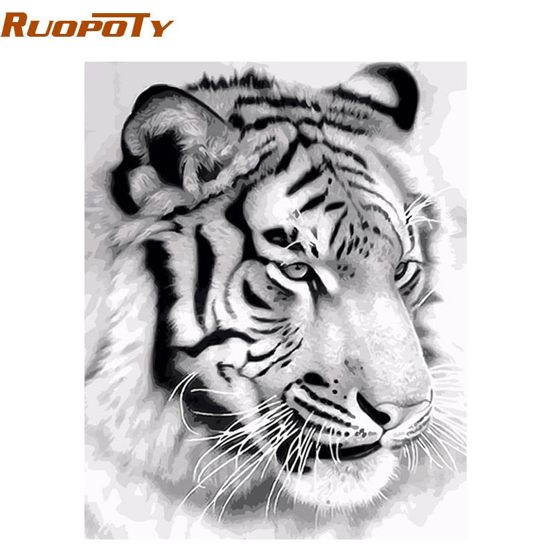 RUOPOTY Frame Tiger DIY Painting