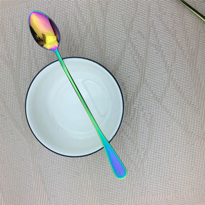 Juice Coffee Stirring Cutlery Set Colorful Rainbow Teaspoons