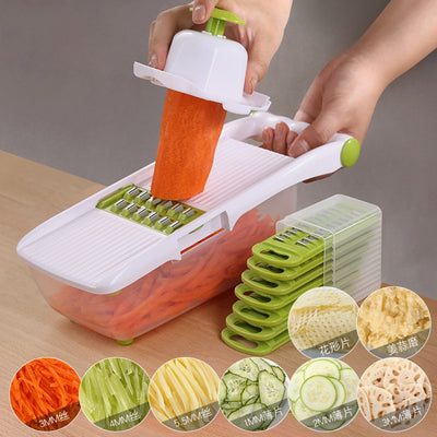 Vegetable Slicer with 8 Stainless Steel Interchangeable Blades