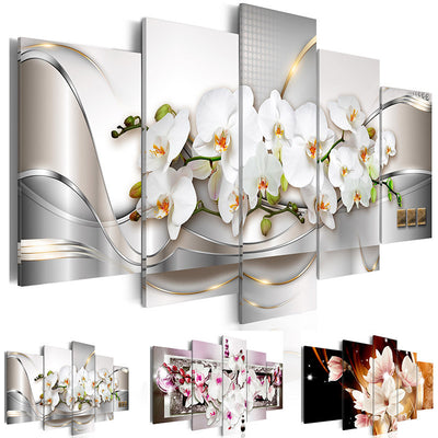 Modern Painting Canvas 5 Panels Orchids Flower Landscape Canvas Print Modular Picture for Wall Art Living Room Home Decor