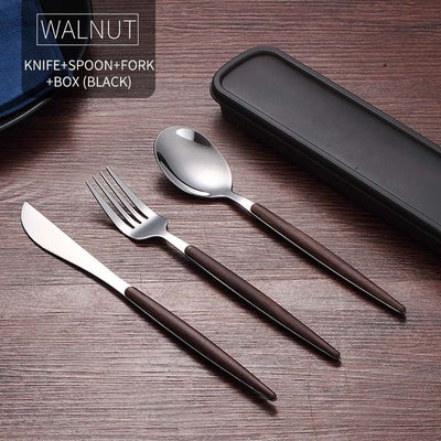 WORTHBUY Drop Shipping Portable Cutlery Set Stainless Steel Dinnerware Set Travel Tableware Set