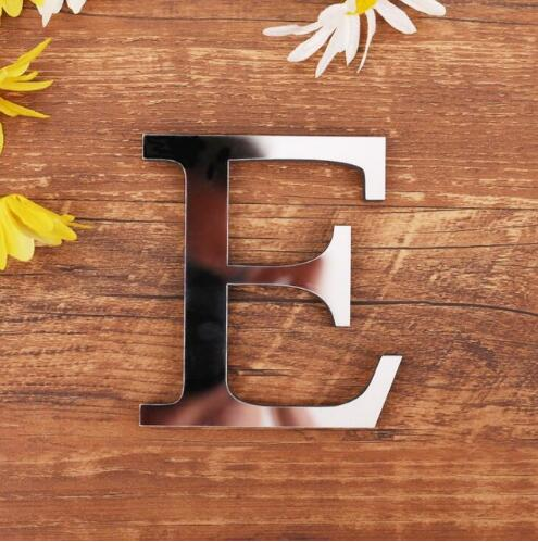 28 English 3D Letters Acrylic Mirror Surface Wall Sticker