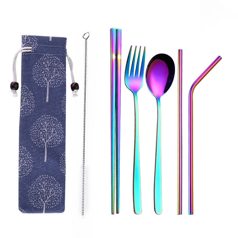 6pcs/set Reusable 304 Stainless Steel Metal Straw Portable Spoon Fork Chopsticks Set for Travel Outdoor Dinnerware with Pack
