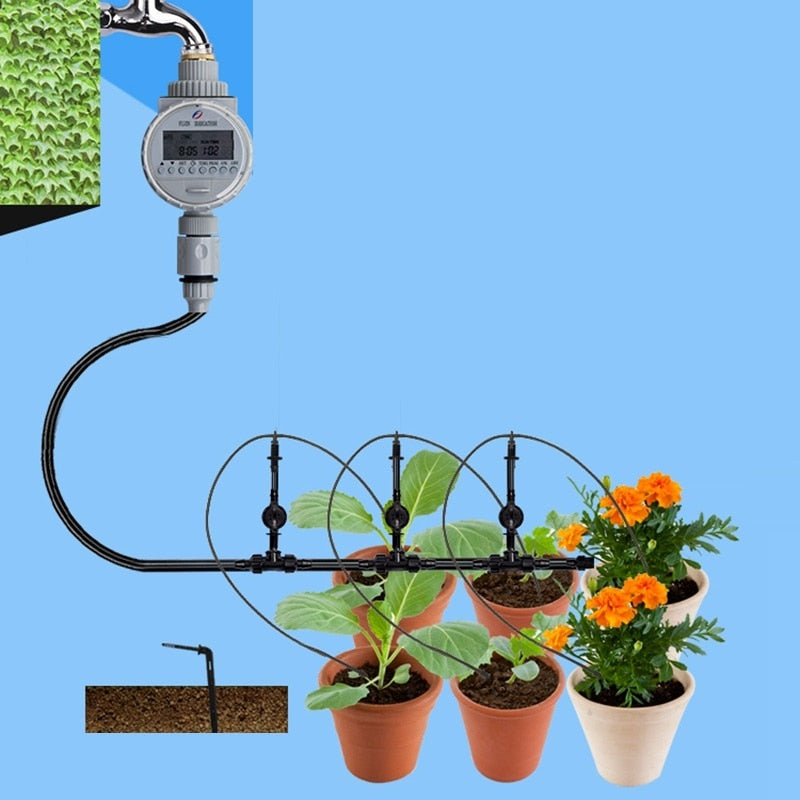 1set Solar Potted Flower Drip Irrigation Watering Kit