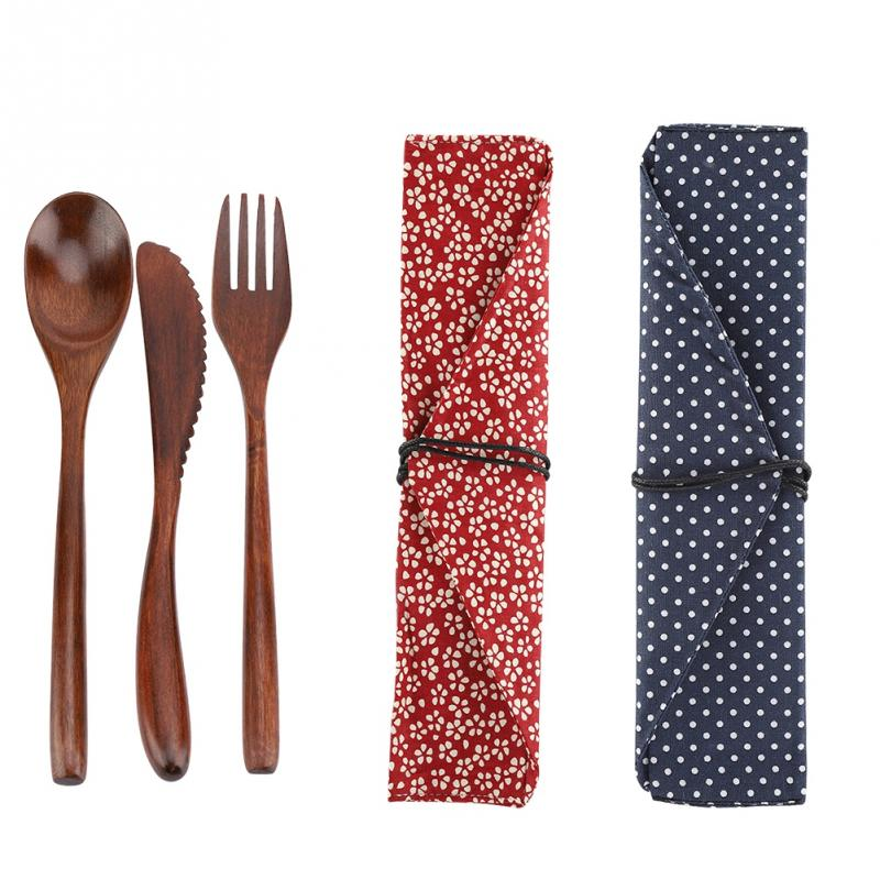 High Quality Elegant Retro Color Reusable Bamboo Wooden Cutlery Set