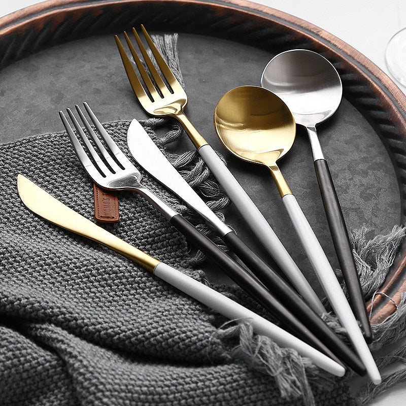4Pcs Black 18/10 Cutlery Set Stainless Steel Dinnerware