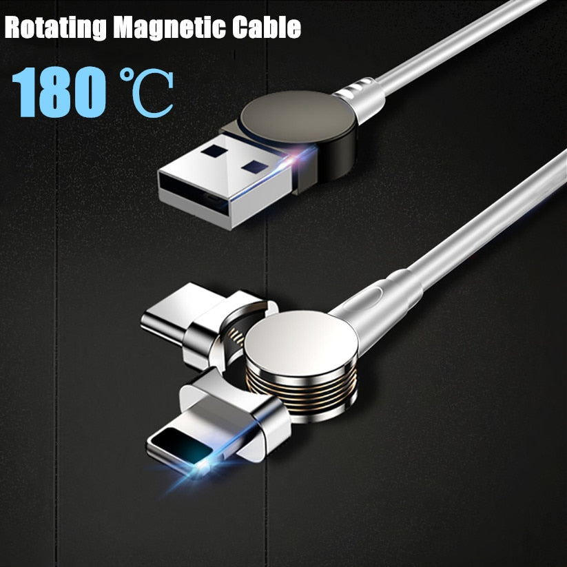 USB Magnetic Cable 180 Free Rotation Fast Charging & Data Transfer Cable For IPhone Type C Micro USB Charge Ports Phones