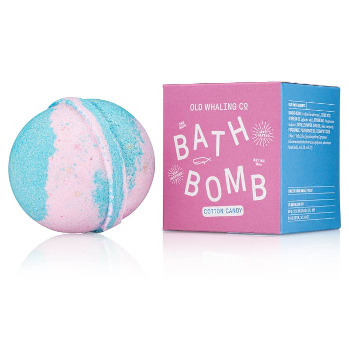"Our bath bombs are carefully mixed in-house by hand. They are loaded with epsom salts and oils for a lovely, relaxing soak that will cleanse, moisturize + refresh. Cotton Candy smells like a sugary treat on the boardwalk! 2.75"" round, 8oz bath bombs. Ingredients: Baking Soda Citric Acid Soybean Oil Olive Oil Epsom Salt Distilled Water Fragrance Cosmetic Color (Blue 1 Lake)(Bis(Glycidoxyphenyl)propane/Bisaminomethylnorbornane copolymer, Aluminum Hydroxide, Red 28, Red 22)"