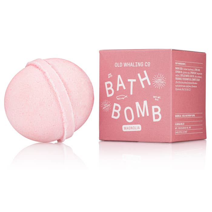 "Our bath bombs are carefully mixed in-house by hand. They are loaded with epsom salts and oils for a lovely, relaxing soak that will cleanse, moisturize and refresh. The beauty of spring in the South is captured in this pink bath bomb. 2.75"" round, 8oz bath bombs. Ingredients: Baking Soda Citric Acid Soybean Oil Olive Oil Epsom Salt Distilled Water Fragrance Cosmetic Color"