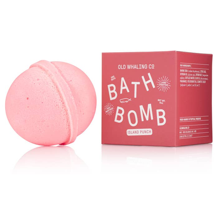 "A sweet Summer scent of juicy tropical fruit. Our bath bombs are carefully mixed in-house by hand. They are loaded with epsom salts and oils for a lovely, relaxing soak that will cleanse, moisturize and refresh. They fizz + color the bath water. Great for everyone of all ages! Made specifically for one bath. 2.75"" round, 8oz bath bombs. INGREDIENTS: Baking Soda, Citric Acid, Soybean Oil, Olive Oil, Epsom Salt, Distilled Water, Fragranc"