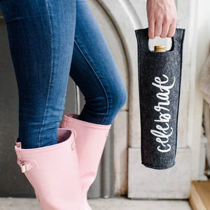 Make gifting easy with our Celebrate Felt Wine Tote! The perfect bottle of wine...or vodka ;) deserves a cute and fun bag of it's own. Just place the bottle inside and your gift is ready to go. Great for hostesses, brides, birthdays, promotions and any other celebratory events!