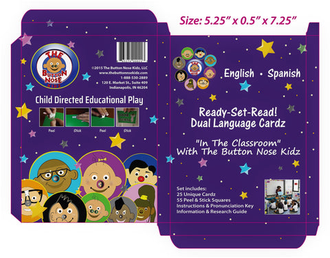 """In The Classroom"" Button Nose Kidz Ready-Set-Read! Dual Language Cardz: English - Spanish"