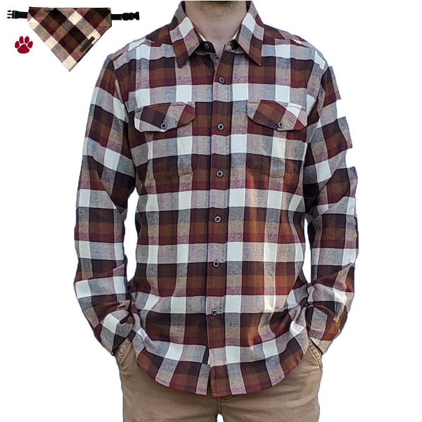 Granby Flannel - Ivory/Cognac- Beefy 8 oz. Flannel