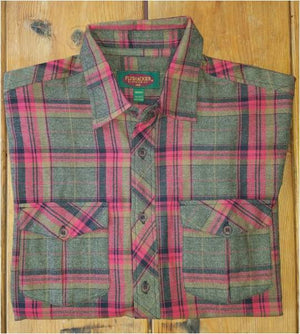 A folded Flyshacker flannel shirt, grindle plaid, olive and red
