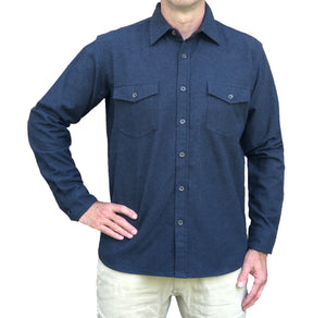 Heathered Chamois Shirt – Navy