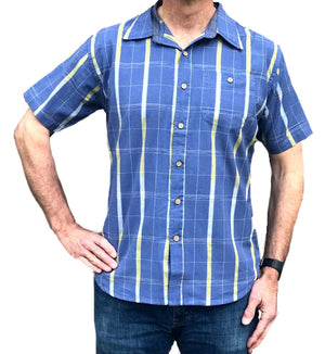 Sand Point Short Sleeve Shirt - Pond Blue Ikat