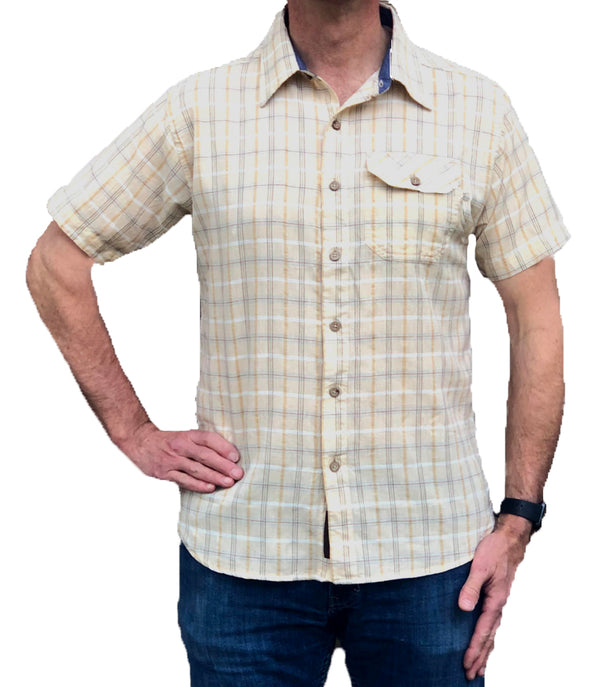 Cotton/Linen Short Sleeve Shirt - Oyster