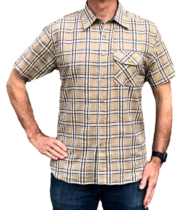 The Pucker Short Sleeve Shirt - Pebble / Navy