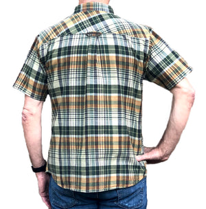 Classic Indian Madras Short Sleeve Shirt - Forest/Sand