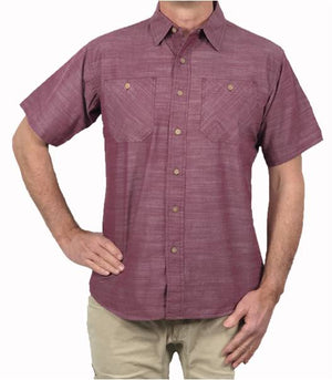 A body shot of the Flyshacker Cottonwood Chambray short sleeve shirt in Andorra Red