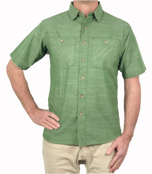 A body shot of the Flyshacker Cottonwood Chambray short sleeve shirt in Dill Green