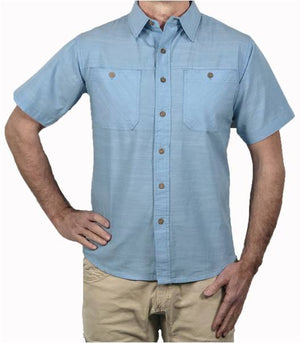 A body shot of the Flyshacker Cottonwood Chambray short sleeve shirt in Faded Blue