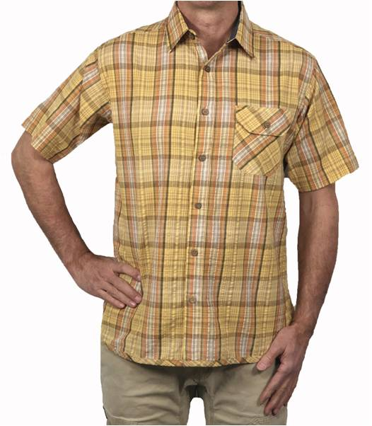 A body shot of the Flyshacker Pucker short sleeve shirt in butter
