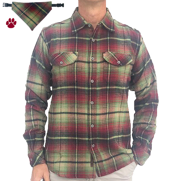 Vintage Ombre Shirt – Red/Olive - Beefy 8 oz Flannel