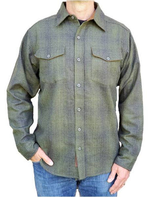 Wool Shirt - Olive-Black Ombre
