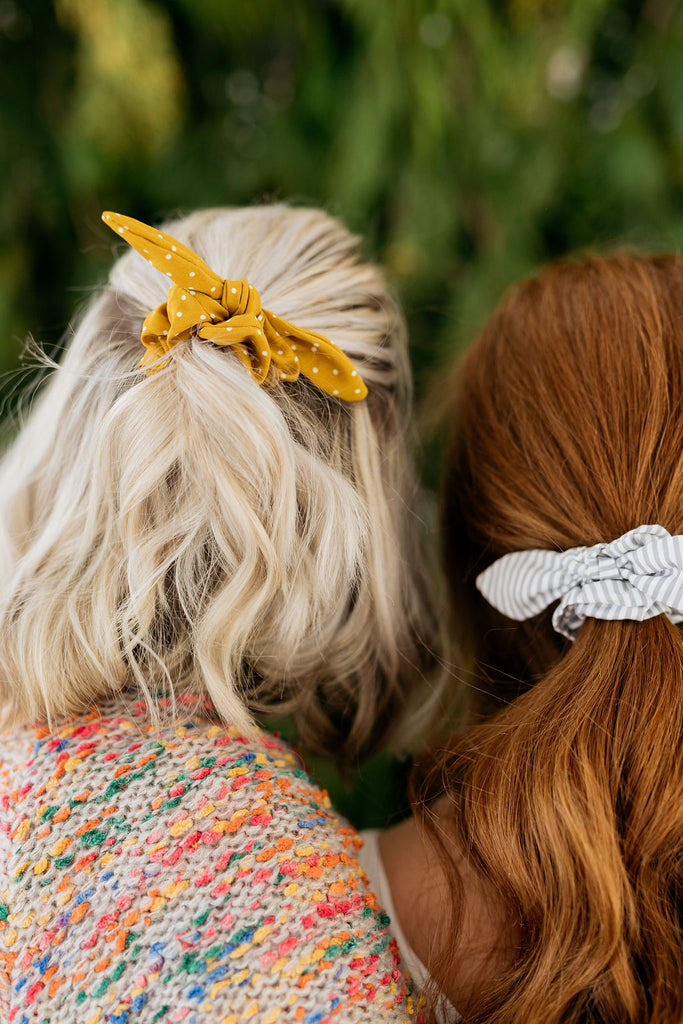 Mustard Dot Scrunchie