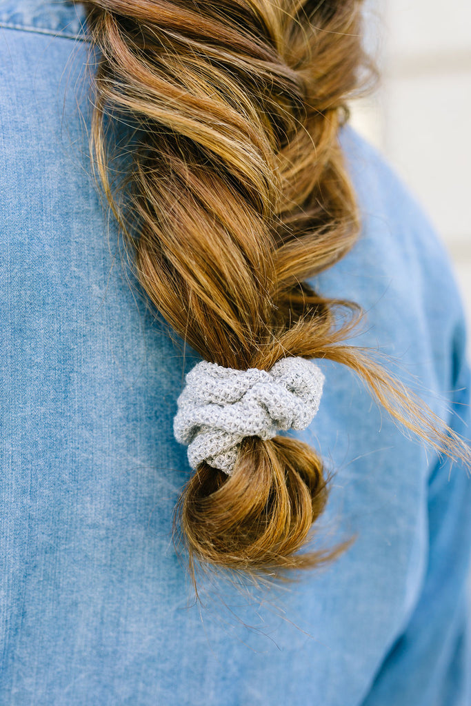 Grey Sweater Scrunchie