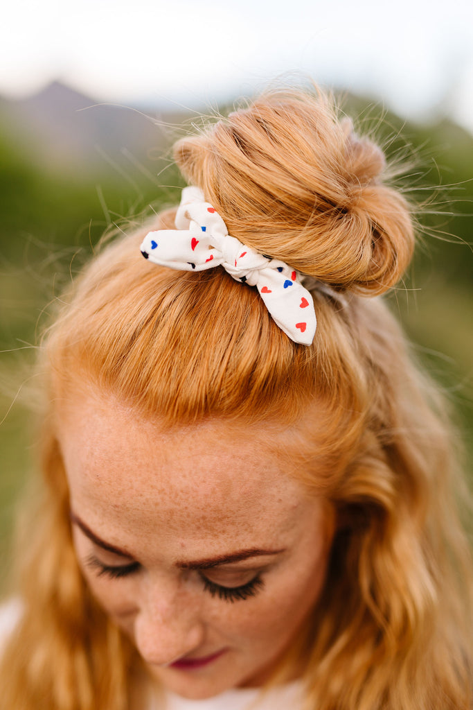 Mini Patriotic Hearts Scrunchie