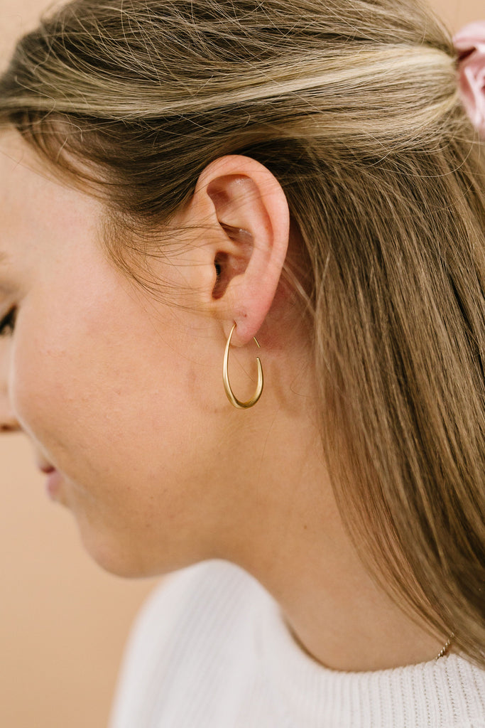 Matte Gold Drop Hoops