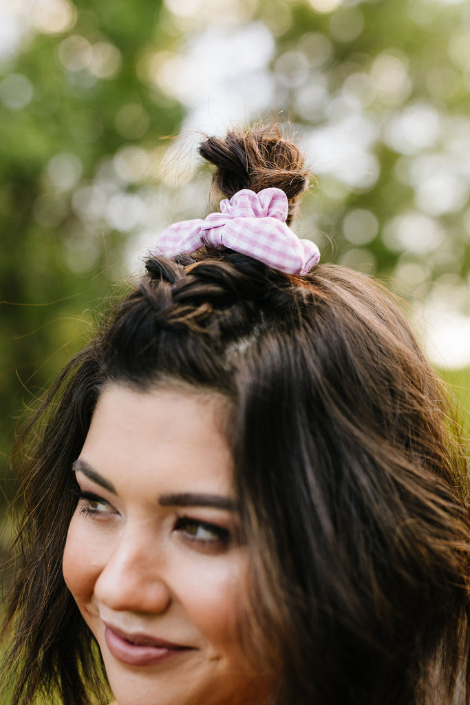Rose Gingham Scrunchie