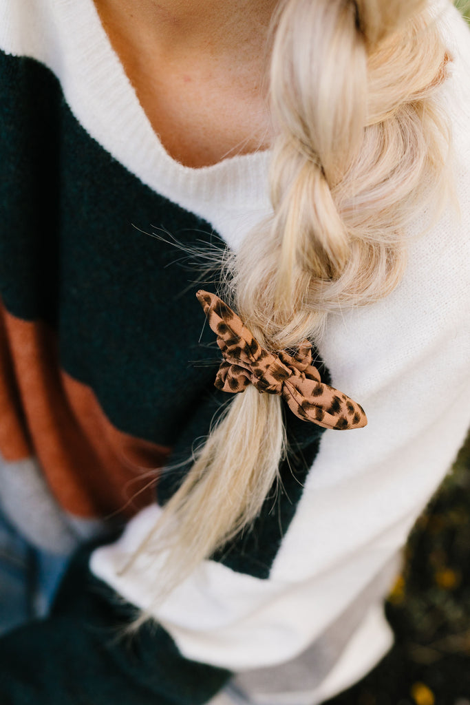 Mini Brown Leopard Scrunchie