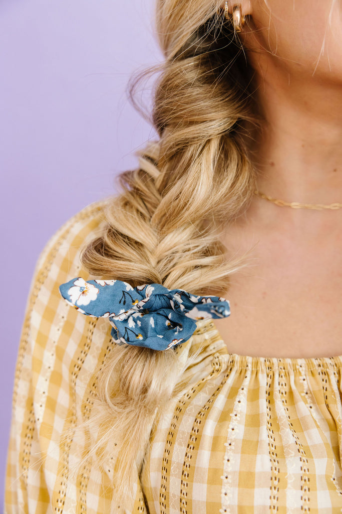 Botanical Blue Scrunchie