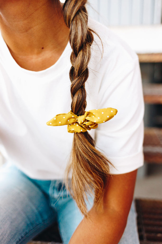 Mini Mustard Dot Scrunchie