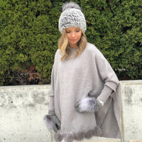 Fox Fur Trimmed Knit Gloves