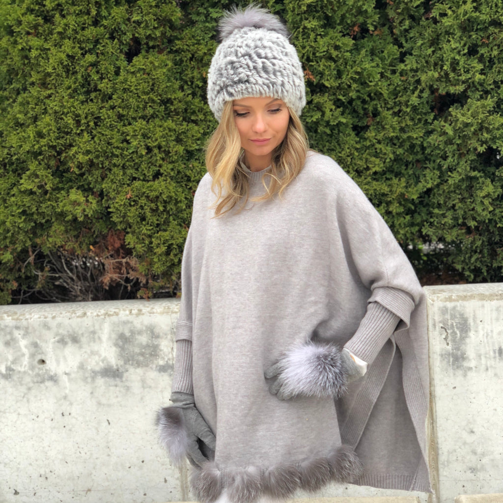 Knit Fox Fur Trimmed Poncho