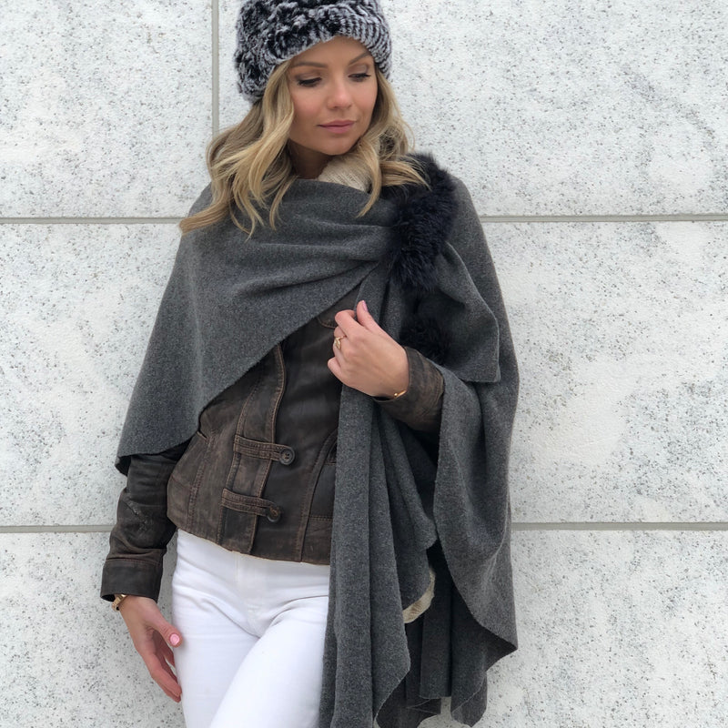 Fox Fur Wrap Poncho