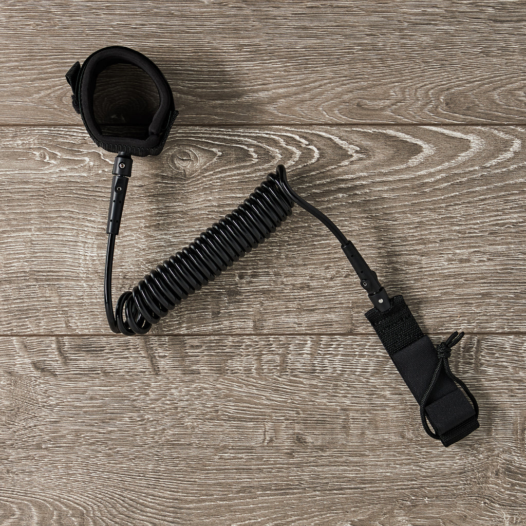 BLACK ON BLACK - 10 Foot Coiled Leash