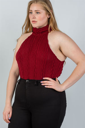 Plus Size Cable Knit Sleeveless Turtle Neck - Burgundy