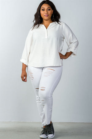 Plus Size Stand-Up Collar Blouse With Roll Tab Sleeve - Oatmeal