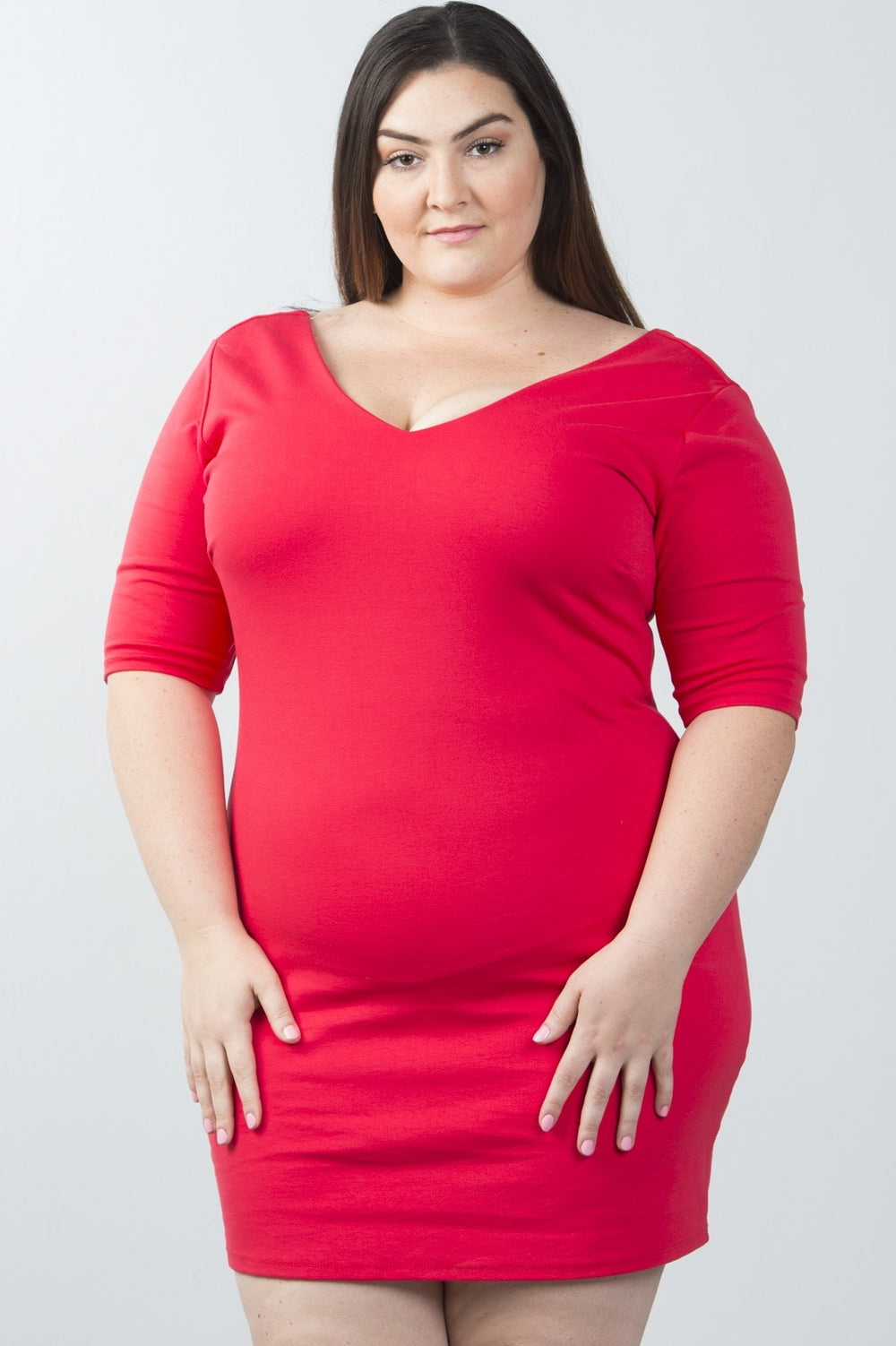 Plus Size Back Lace Mini Dress With Half Arm Sleeve - Red