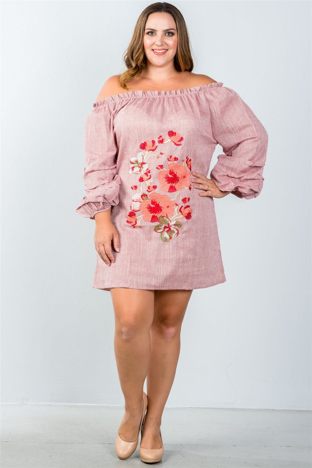 Plus Size Floral Mini Off Shoulder Dress With Puff Sleeves - Blossom